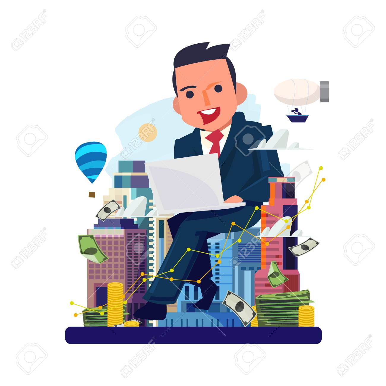 businessman working by laptop with city in background. Real estate agent. Real estate developers. make money by real estate concept - vector illustration - 111904306