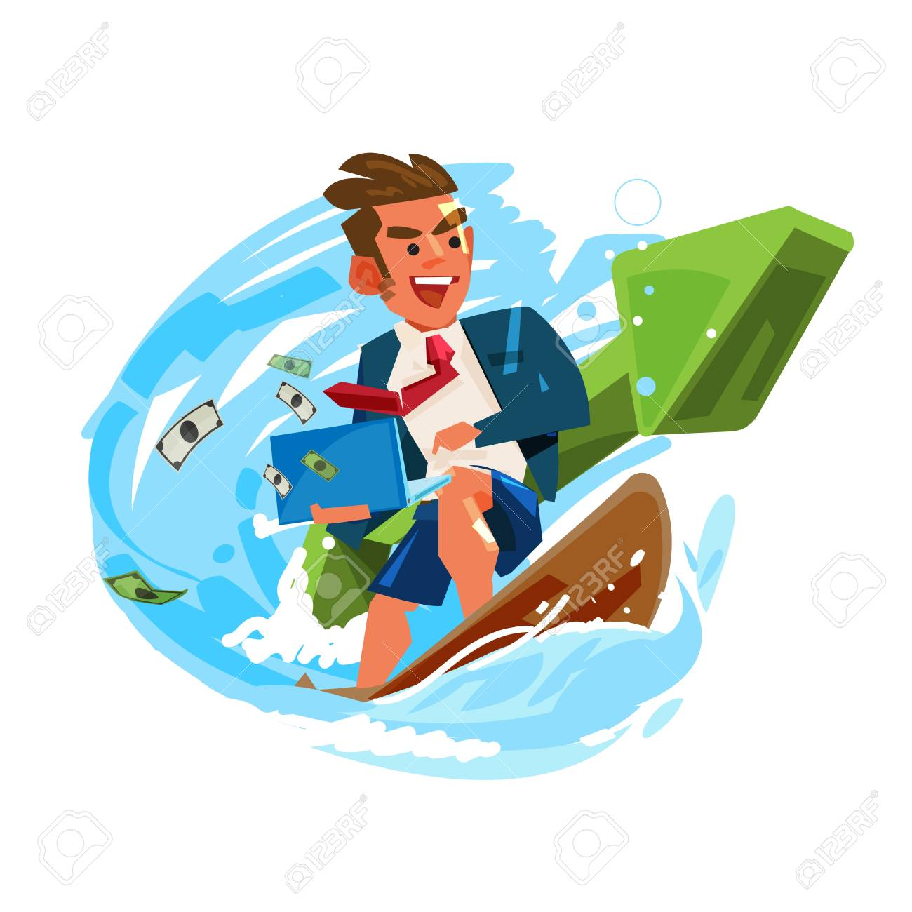 businessman surfing and working on wave with green positive graph. successful business or working concept - vector illustration - 115341972