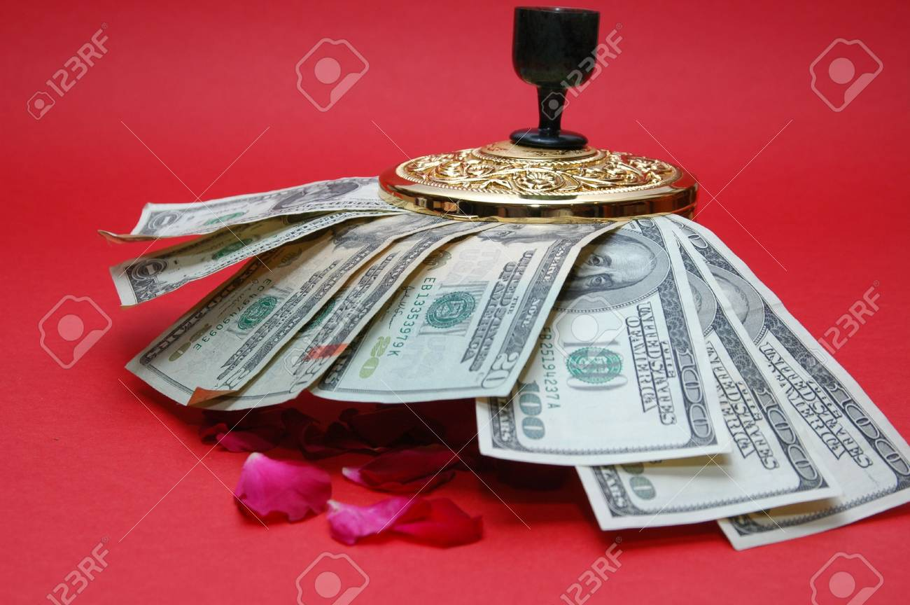 gold box with dollar note and flower Stock Photo - 2416276