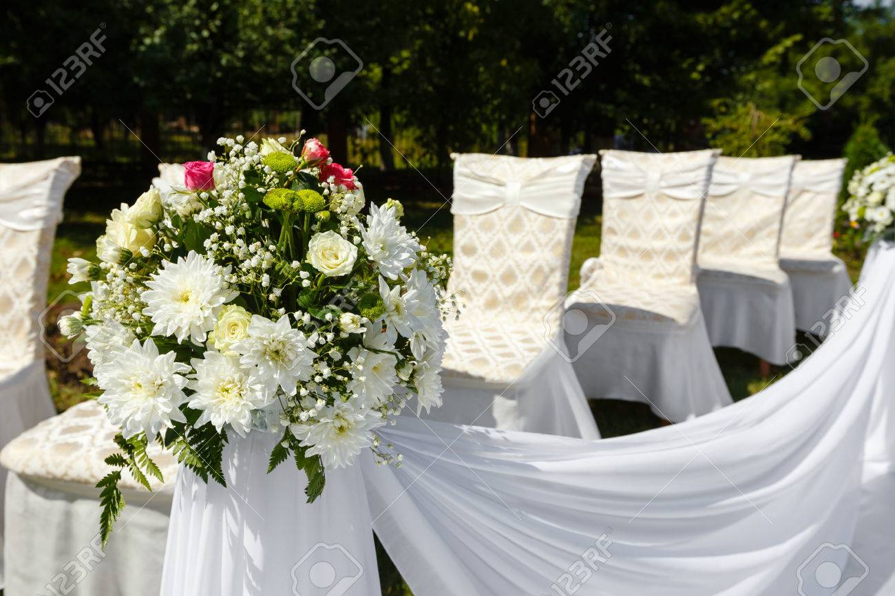 Wedding Ceremony Decorations In A Park. Flower Bouquet Close.. Stock ...