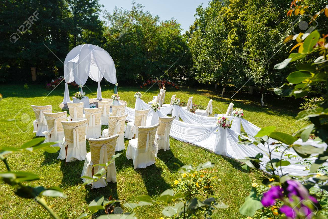 Wedding Ceremony Decorations In The Garden At Sunny Day Stock Photo ...