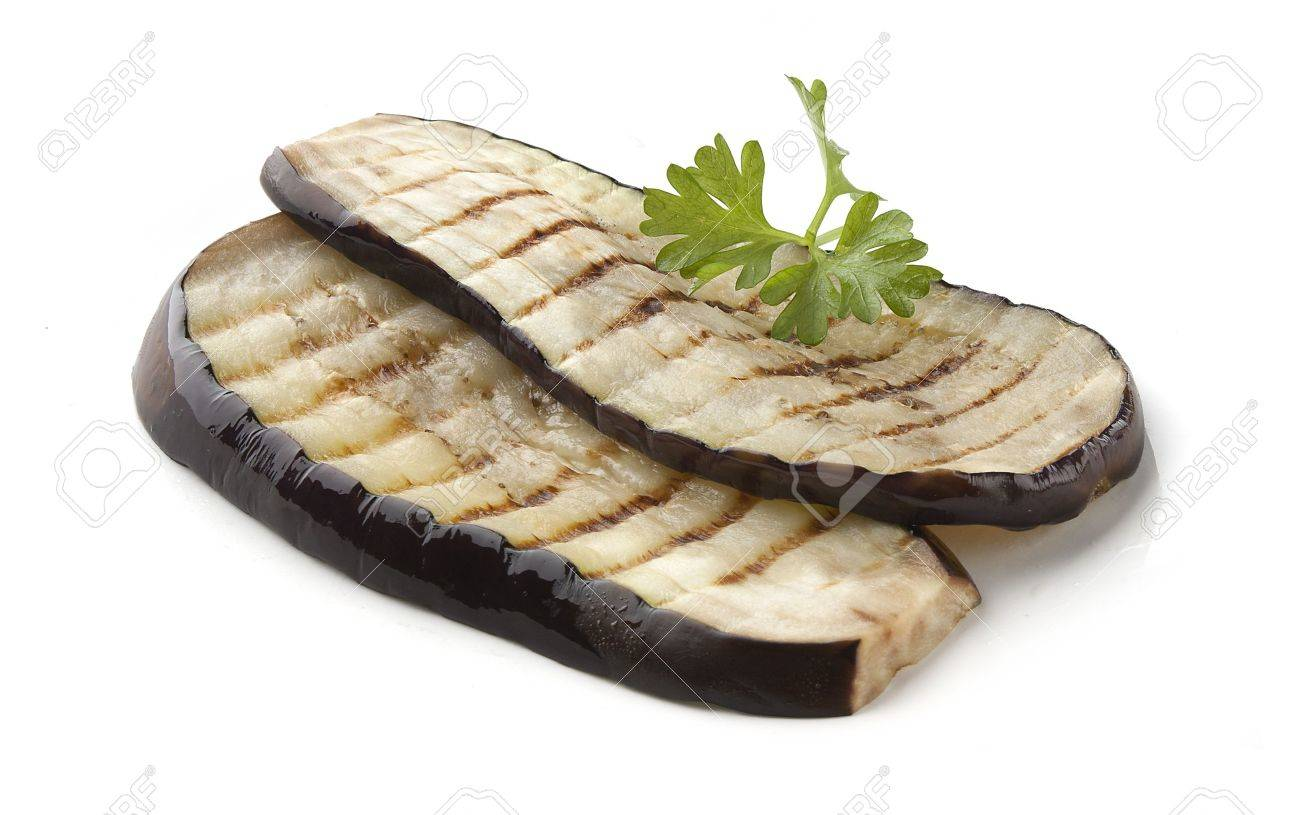 Two pieces of fried eggplant with parsley Stock Photo - 14395753
