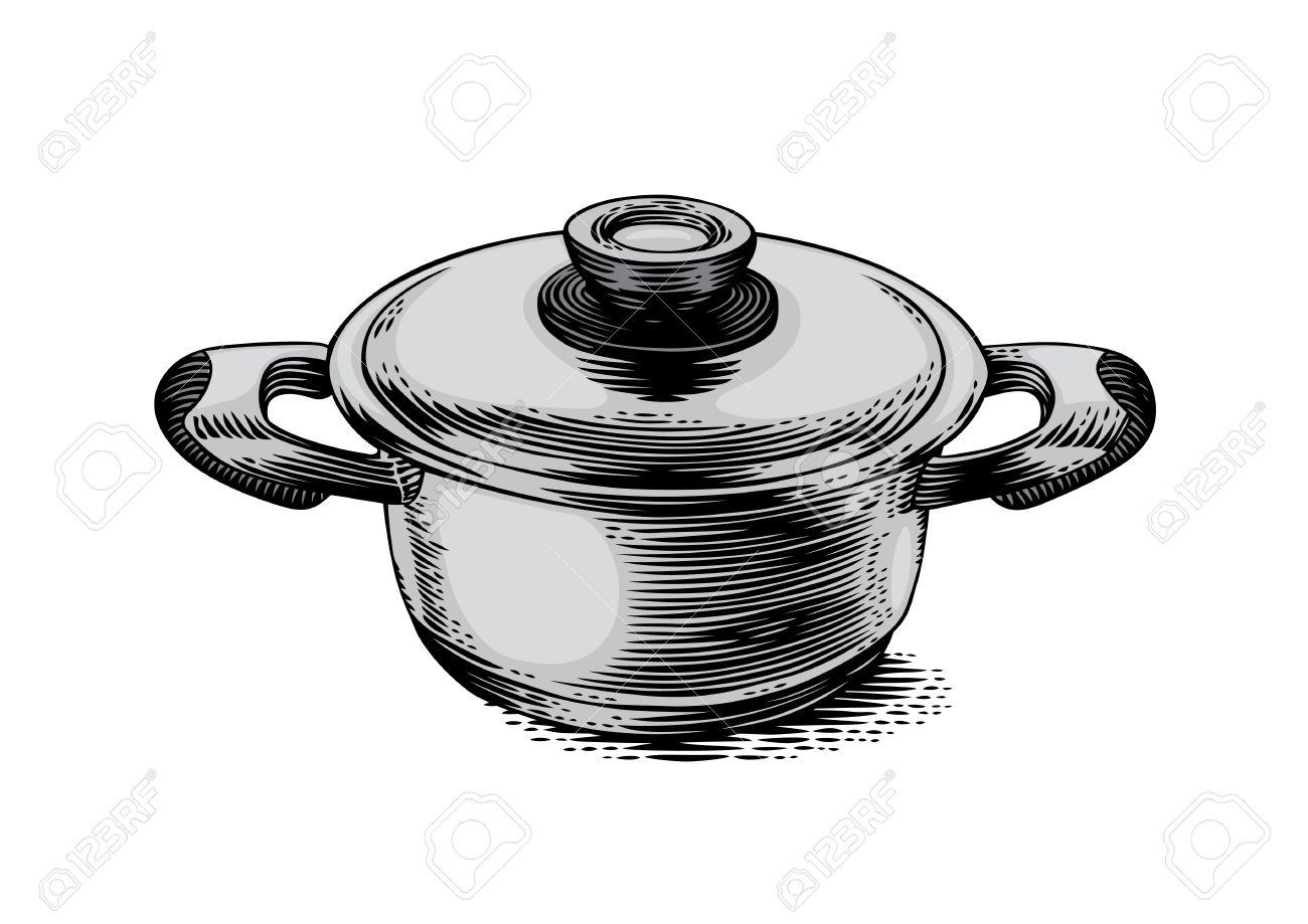 Dibujo De La Pequeña Olla De Metal Con Tapa Ilustraciones