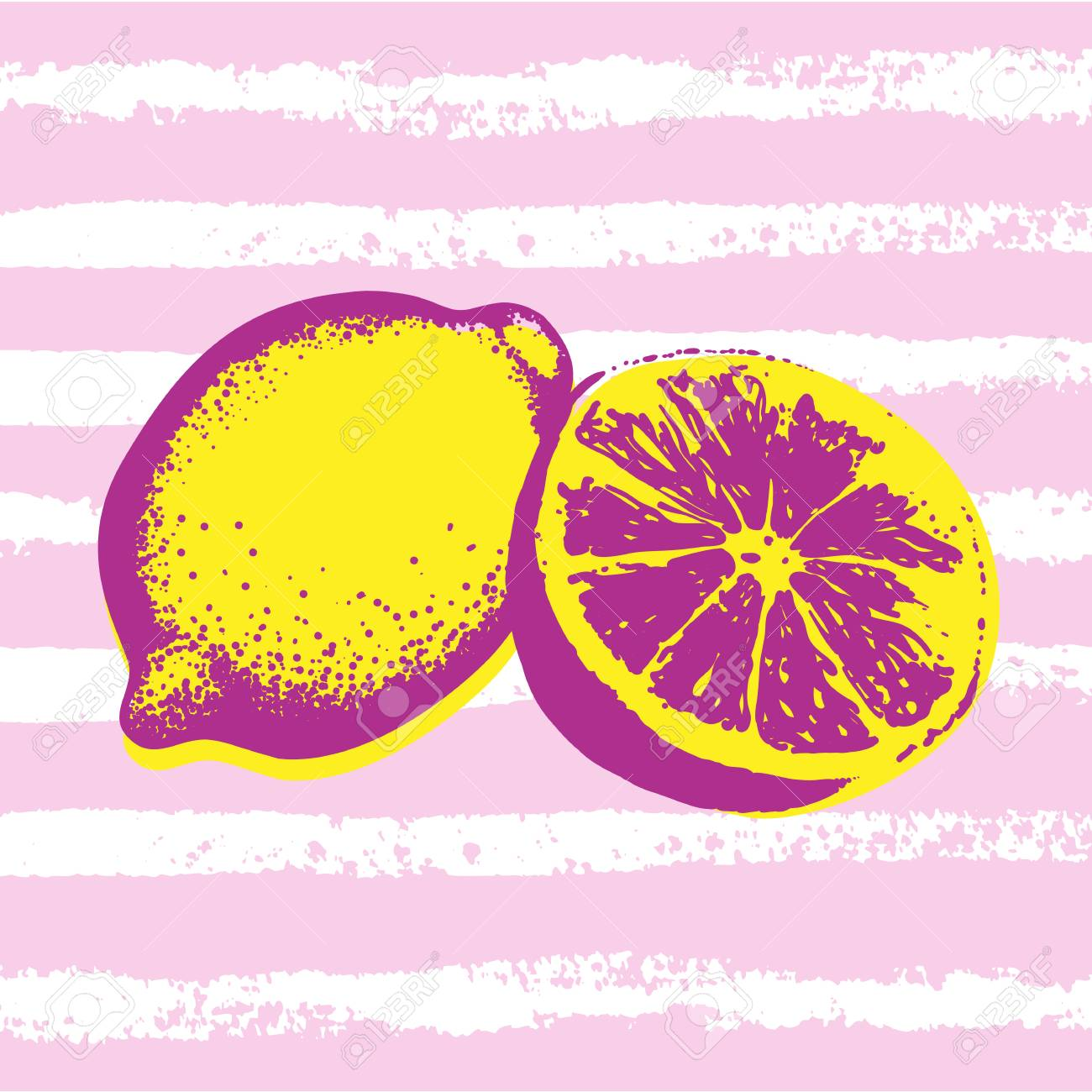 Vector Hand Drawn Lemons With Striped Background. Exotic Tropical ...