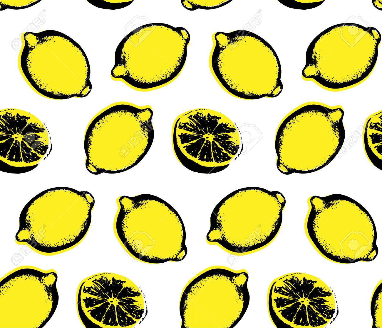 Vector Hand Drawn Lemon Seamless Pattern. Sketch. Pop Art. Perfect ...