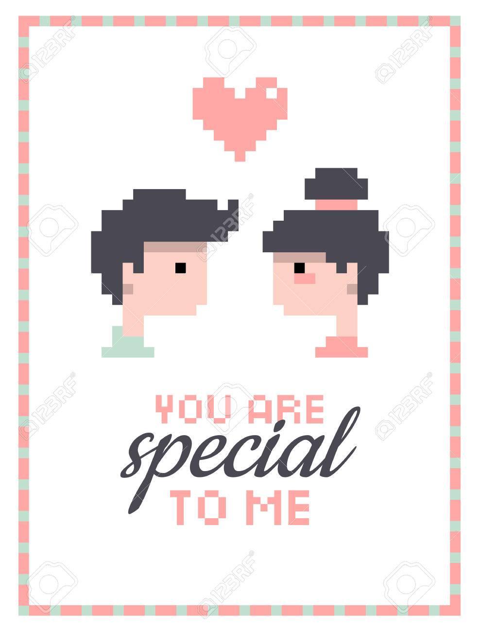 Illustration Romantique De Garçon Et Fille Amoureux De La Carte De La Saint Valentin Faites Gagner La Date Ou Pixel Art De Carte De Mariage