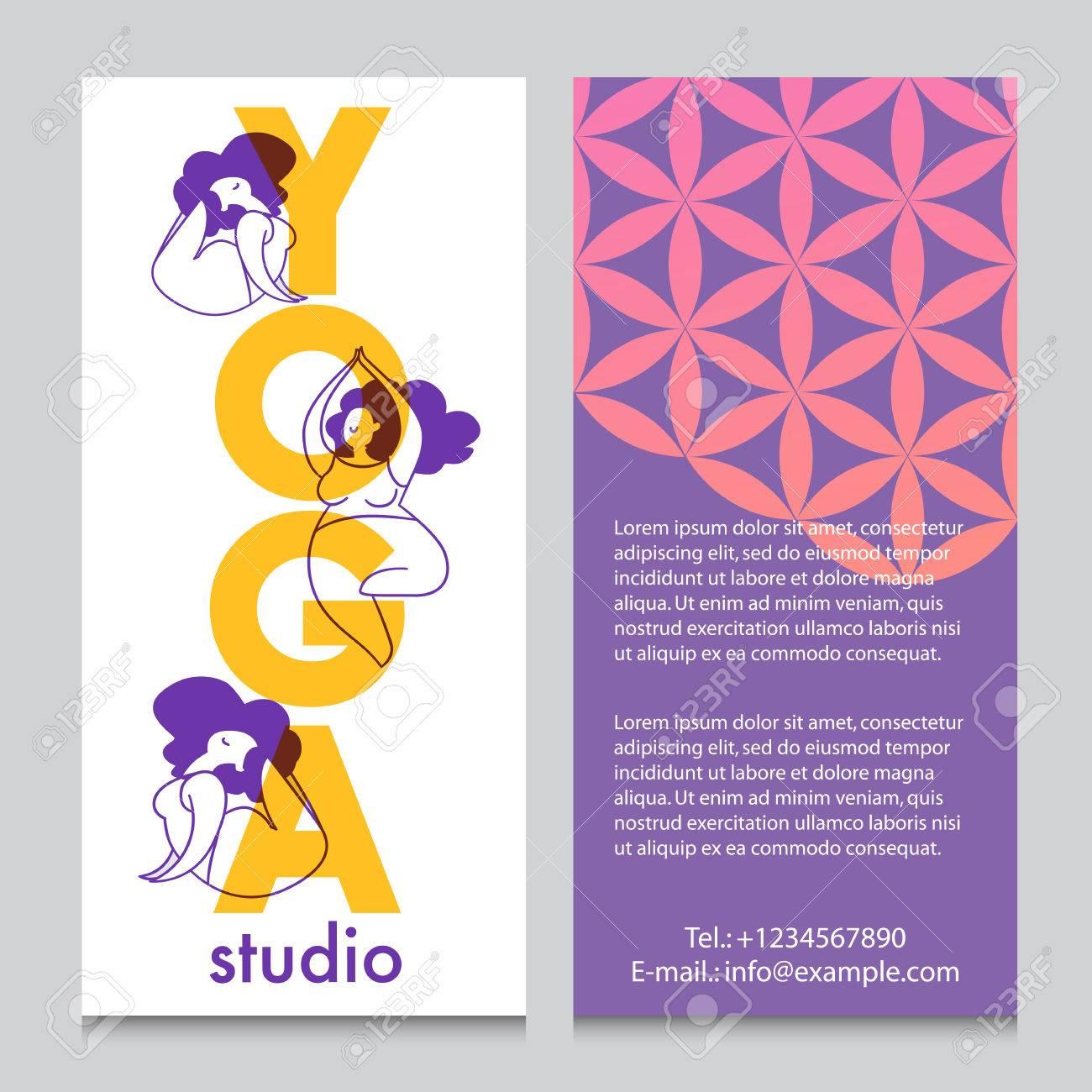 Banner O Flyer Plantilla Para Retiro De Yoga O Estudio De Yoga, Flor ...