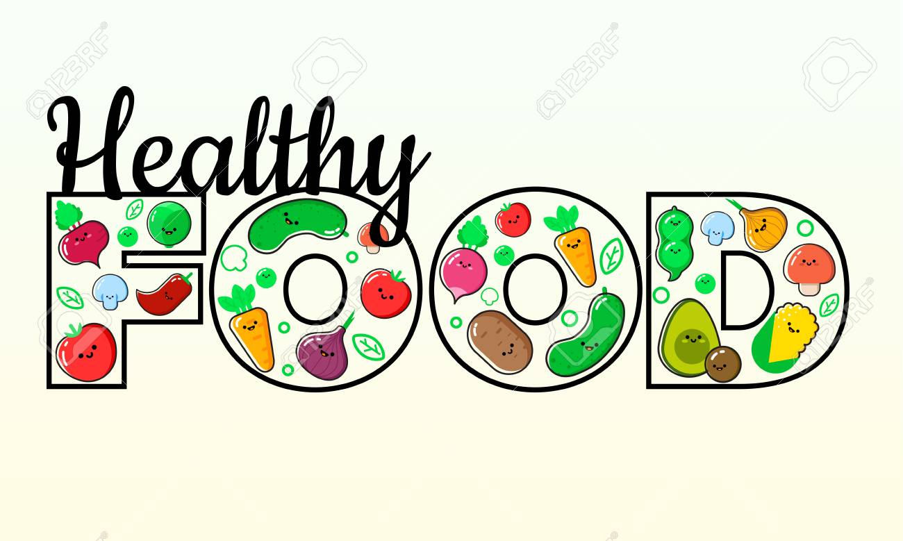 Healthy Eating Vector Concept. Word FOOD Composed Of Vegetables ...