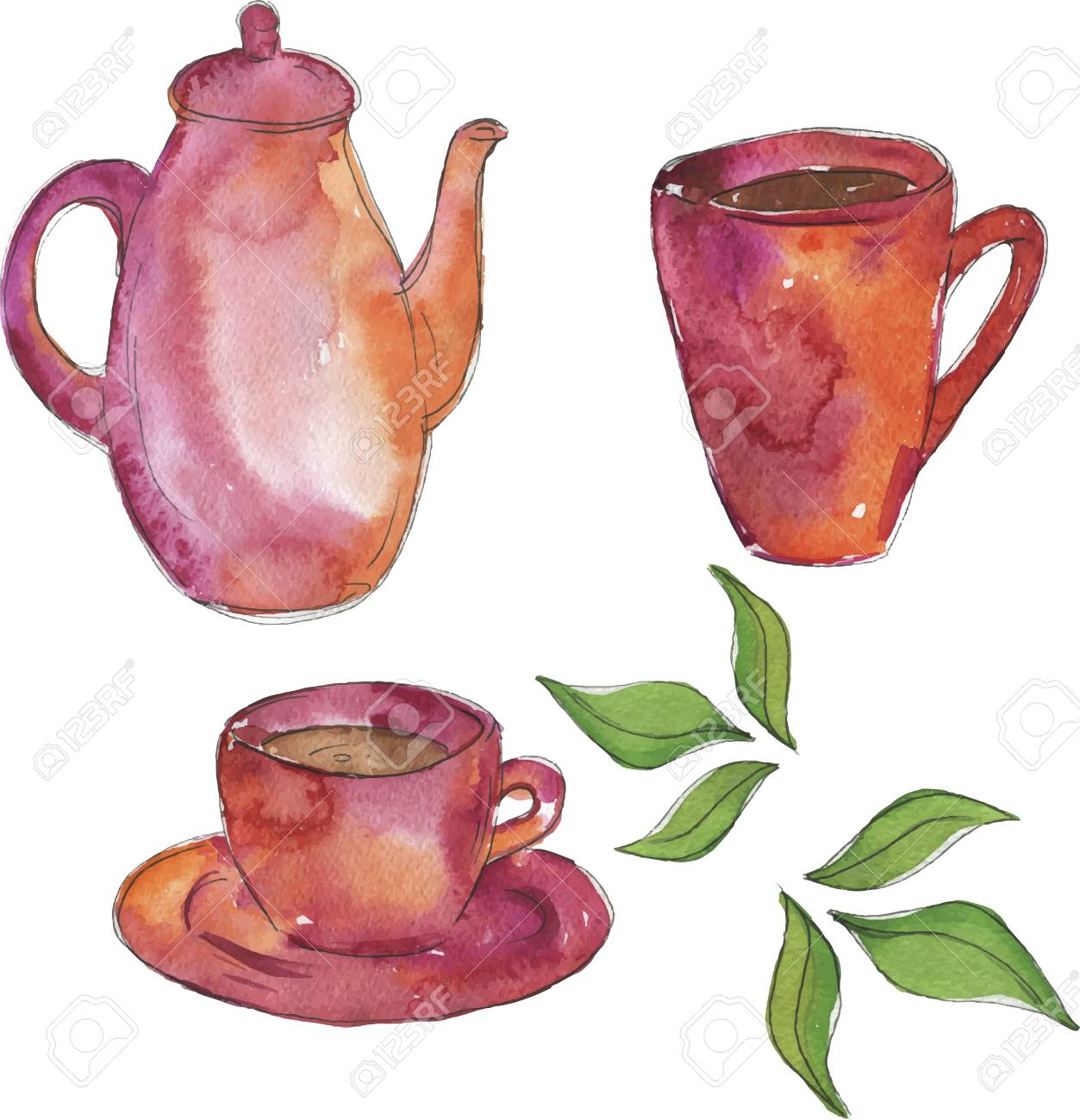Pink teapot and two cups of tea with fresh green tea leaves drawn by watercolor and ink. Hand drawn vector illustration. - 105561461