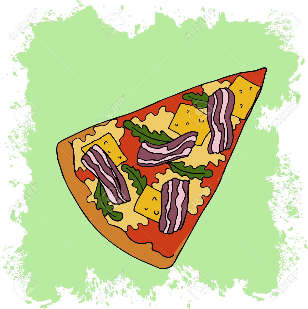 Slice of pizza with cheese. bacon and arugula on abstract pastel green background. Cartoon sketch drawn by ink. Hand drawn vector illustration. - 105910768