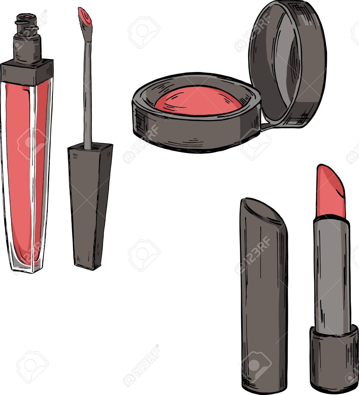 Set of makeup products, lip gloss, lipstick and blush. cartoon..