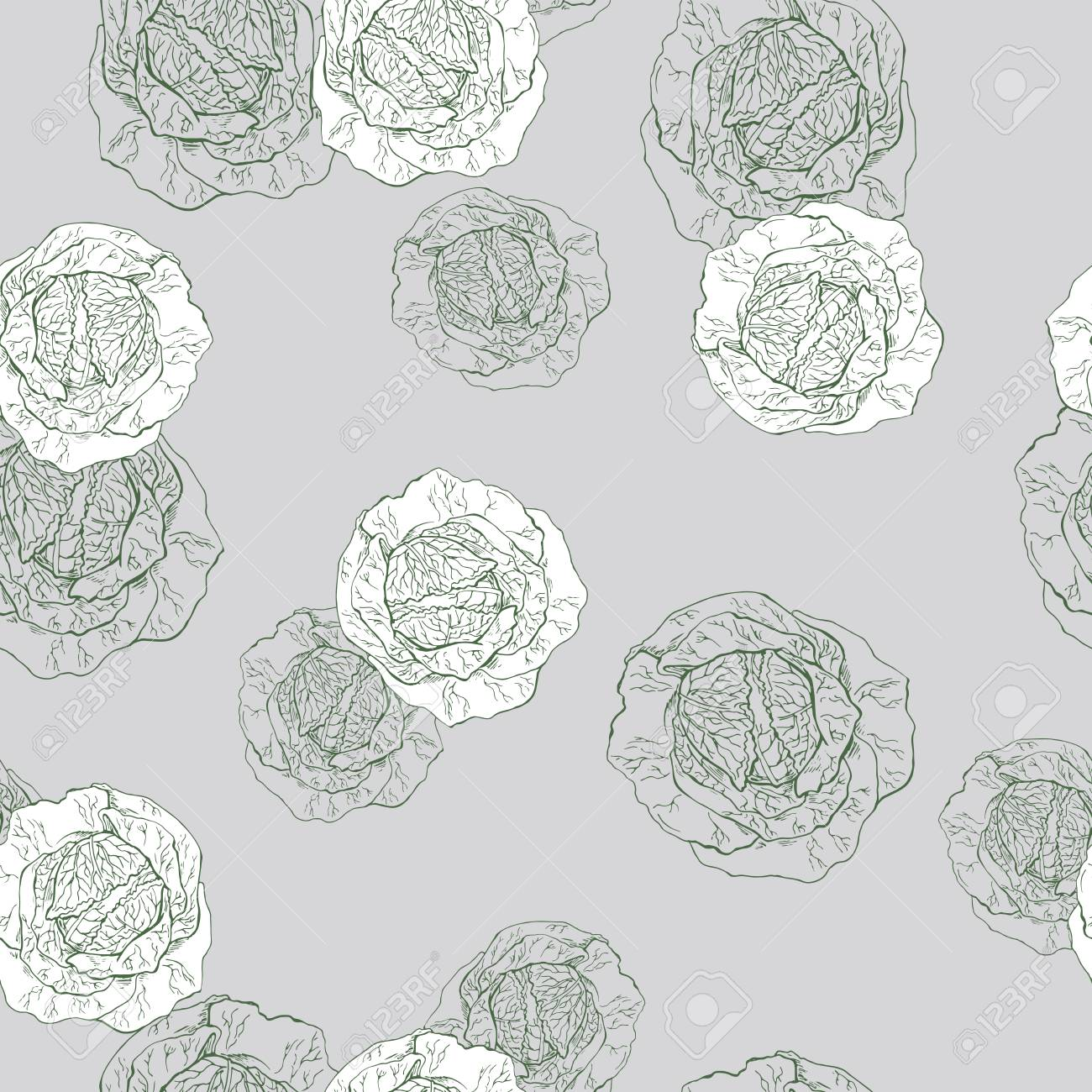 Seamless pattern with fresh cabbage sketch on gray background. Hand drawn vector illustration. - 104708651