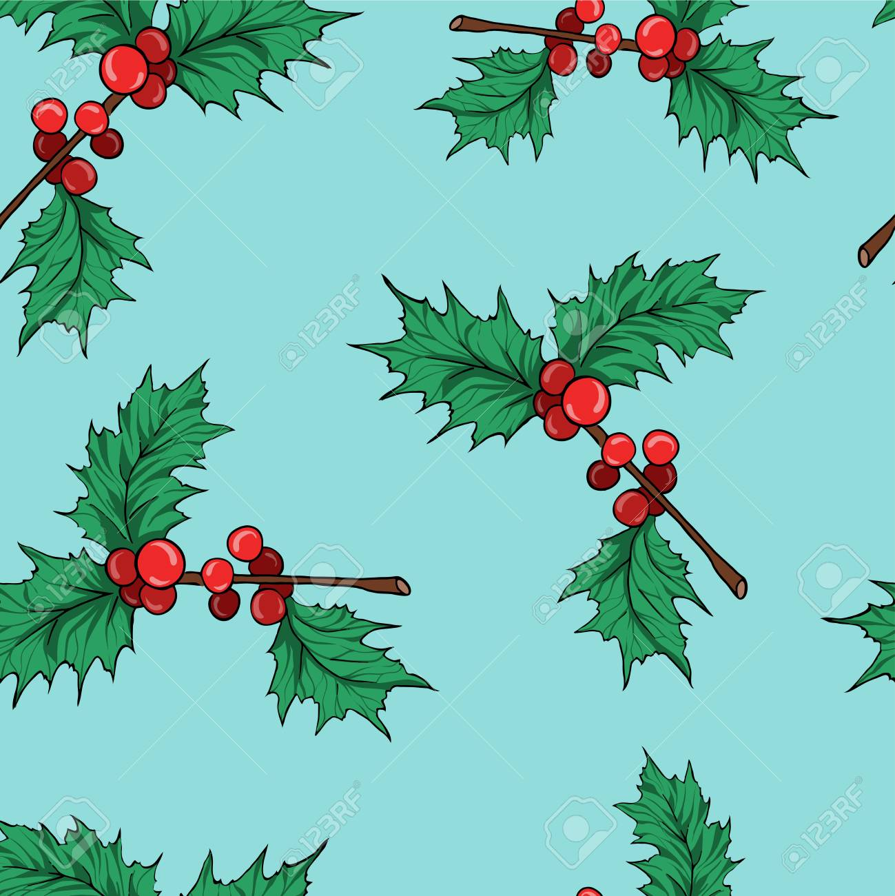 Seamless pattern with holly leaf branches on pastel blue background. Cartoon sketch drawn by ink. Hand drawn vector illustration. - 105829446