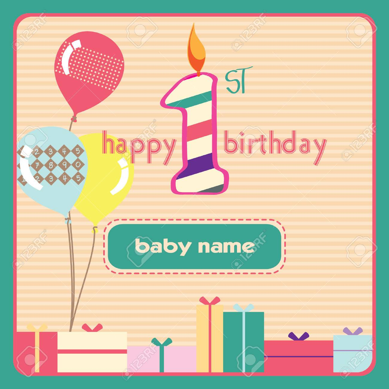 1st Birthday Greeting Card Royalty Free Cliparts Vectors And – 1st Birthday Greetings