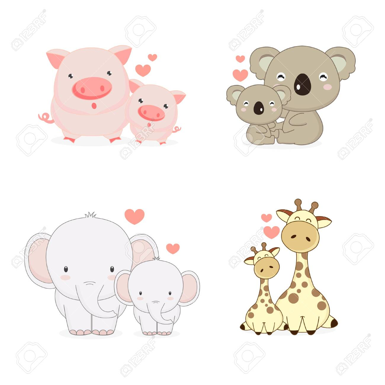 Mom And Baby Animals With Love Pig Koala Elephant And Giraffe Royalty Free Cliparts Vectors And Stock Illustration Image 126736223