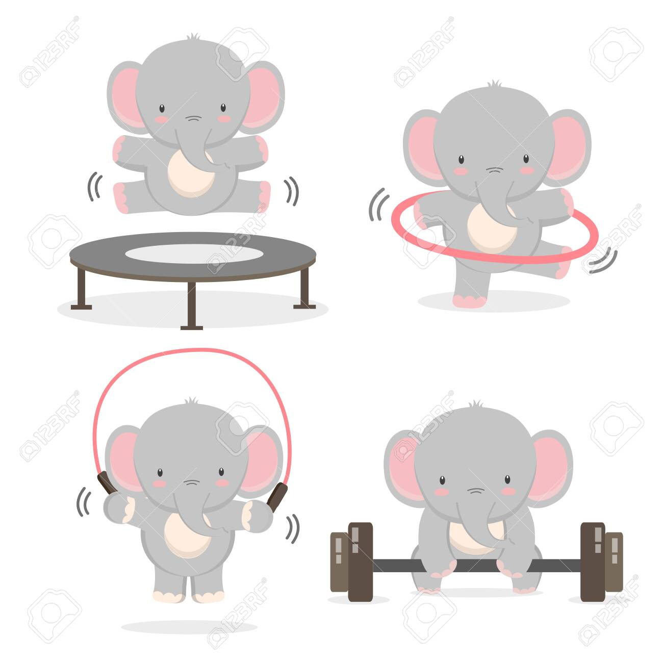 Funny Elephant Doing Exercise Fitness And Healthy Lifestyle Royalty Free Cliparts Vectors And Stock Illustration Image 132730341