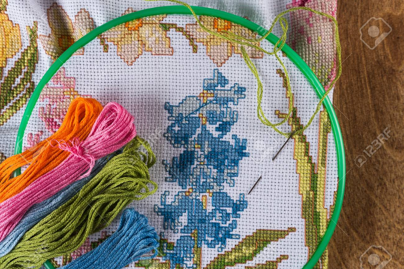 The process of cross-stitch  Canvas on hoops, needles, embroidery