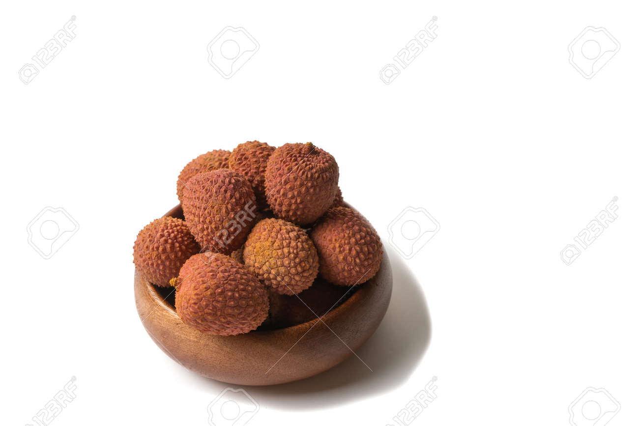 Tasty lychee in bowl. Raw Organic Red Lychee Berries Ready to Eat - 171995483