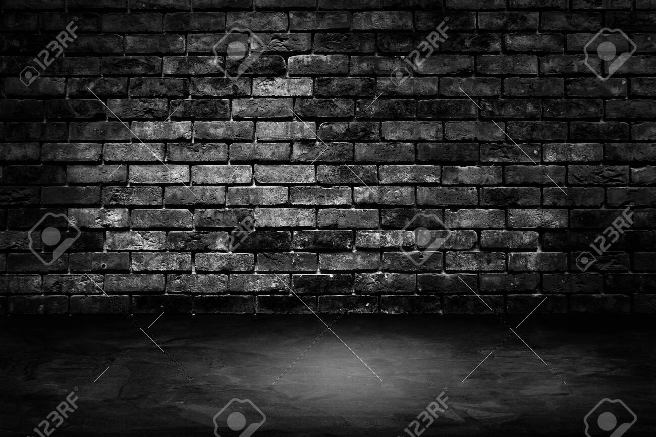 Abstract image of Architecture dark room black brick wall with concrete floor. - 131588507