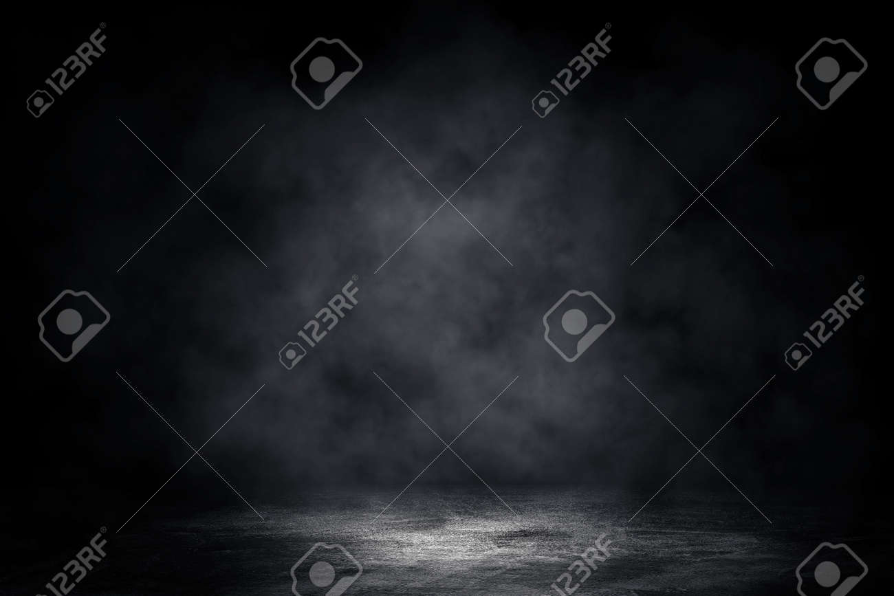 Empty space of Concrete floor grunge texture background with fog or mist and lighting effect. - 155261244