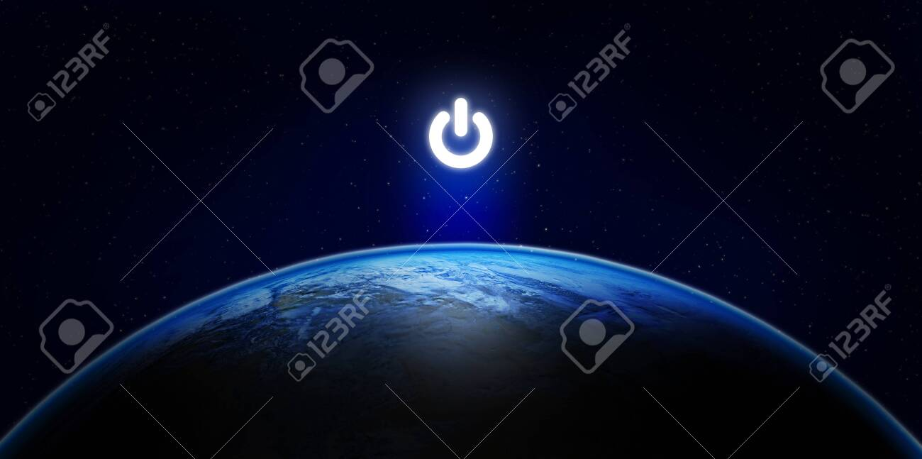 Earth Hour, Ecology and Environment Concept : Blue planet earth in the space with electric power button for Earth Hour Event. - 155961185