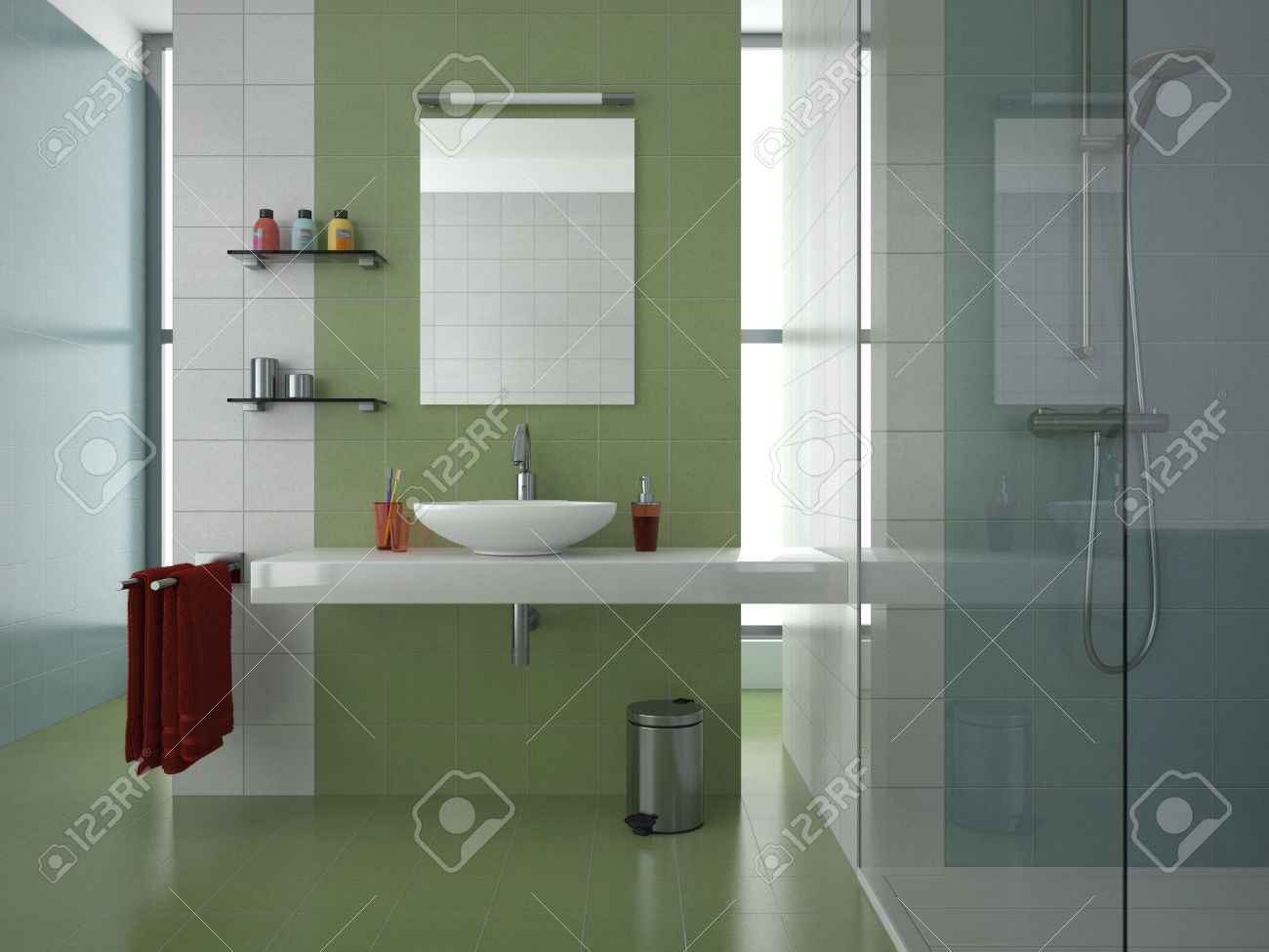Modern Bathroom With Green, White And Blue Tiles Stock Photo   8422199