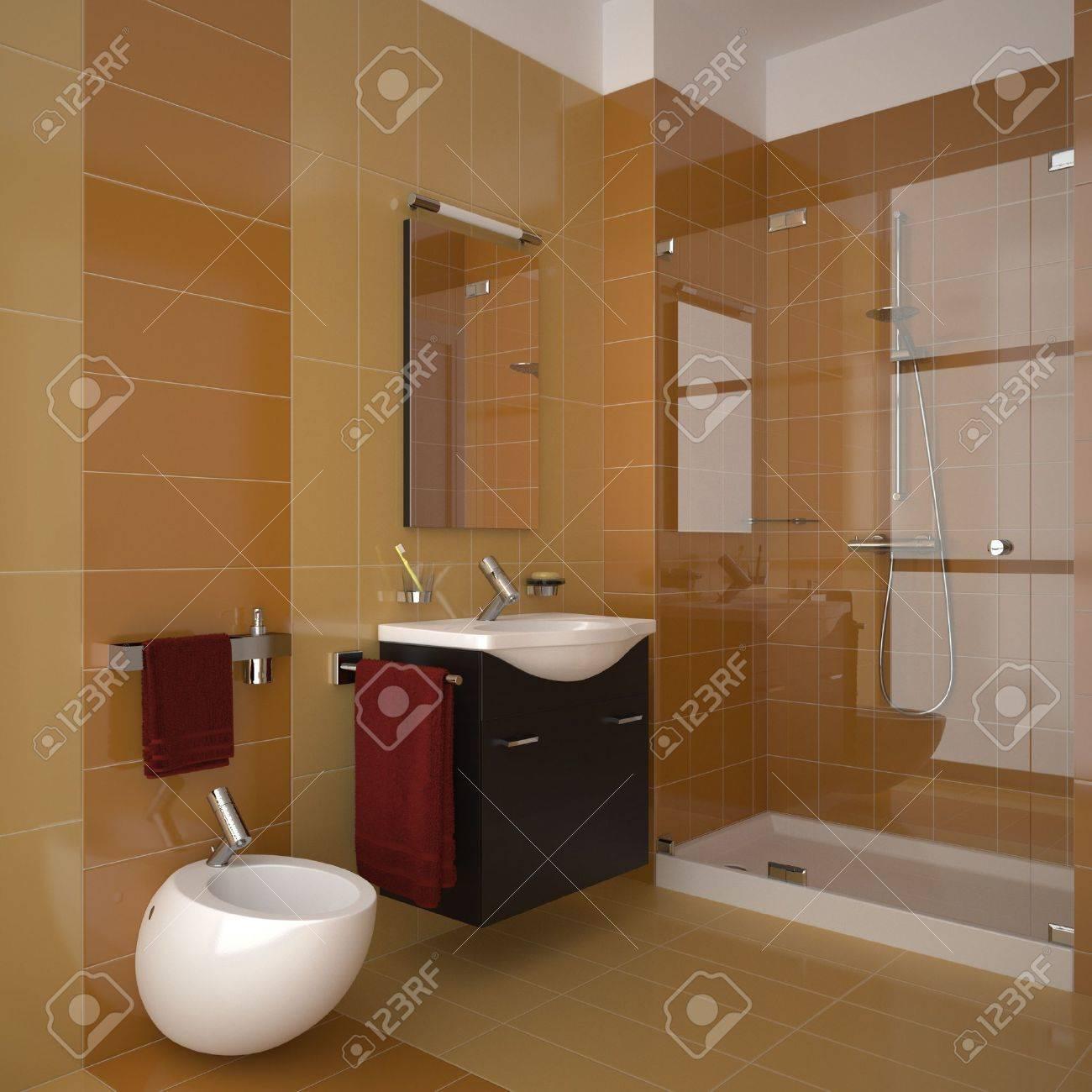Baño moderno con azulejos de naranjas fotos, retratos, imágenes y ...