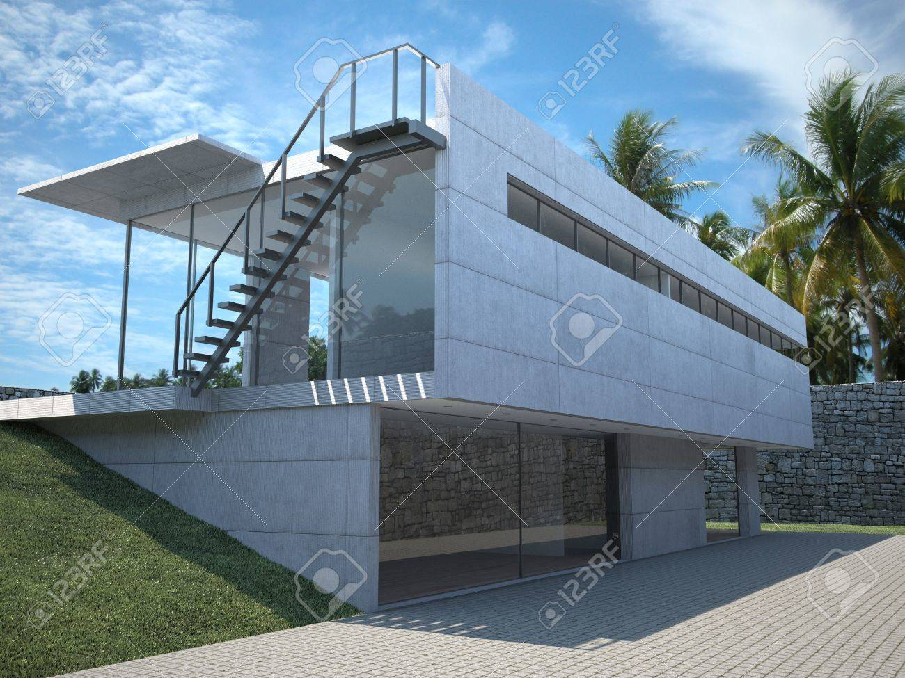 Modern House - xterior View With Palms Stock Photo, Picture nd ... - ^