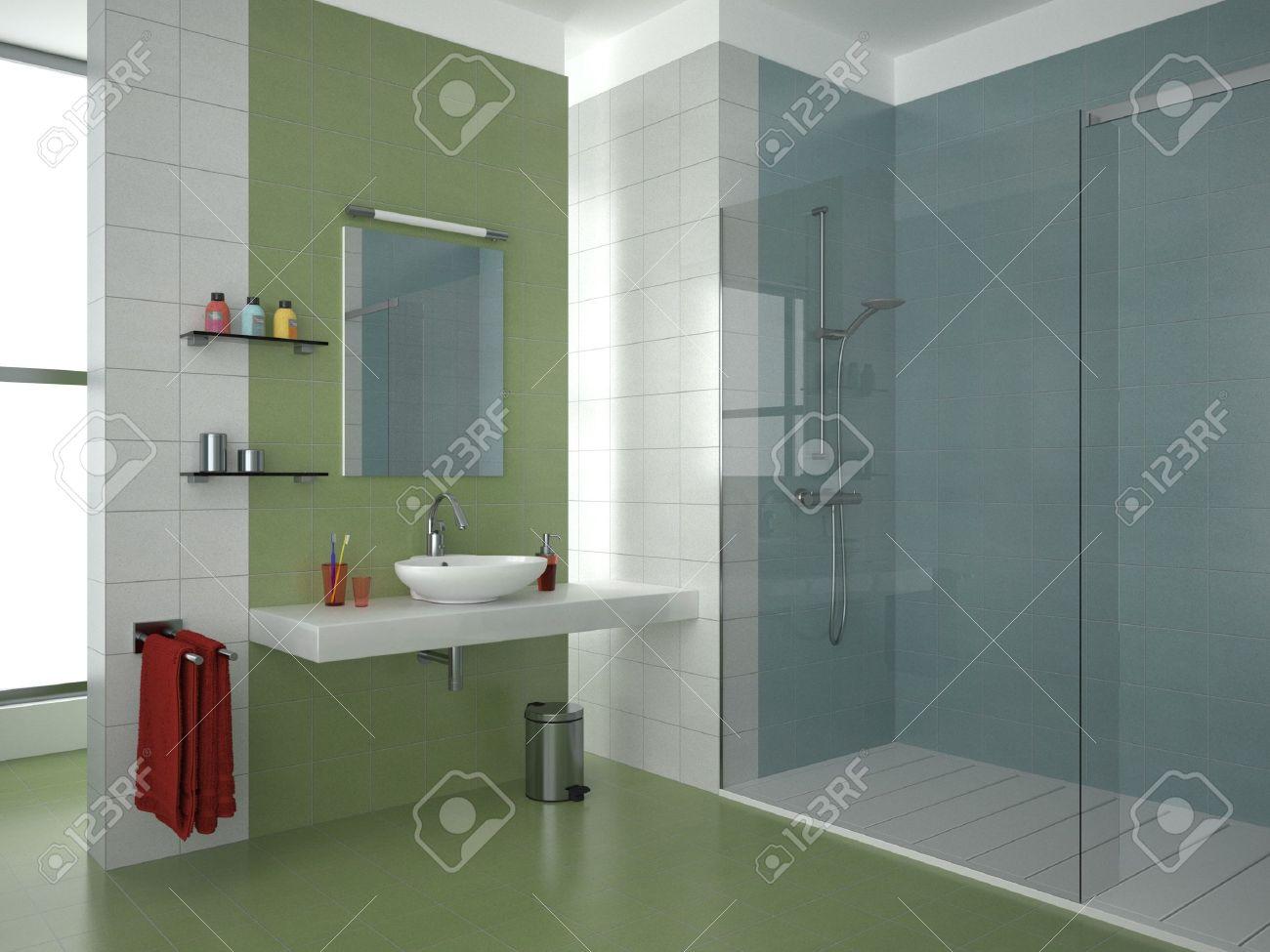 moderne badezimmer mit grün, weiß und blau-fliesen lizenzfreie