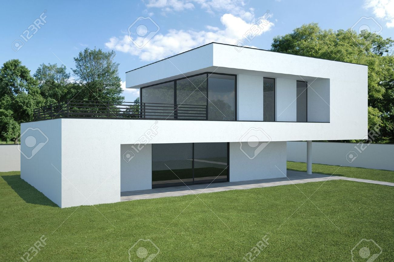 Lovely Modern House   Exterior View With Lawn Stock Photo   8456019