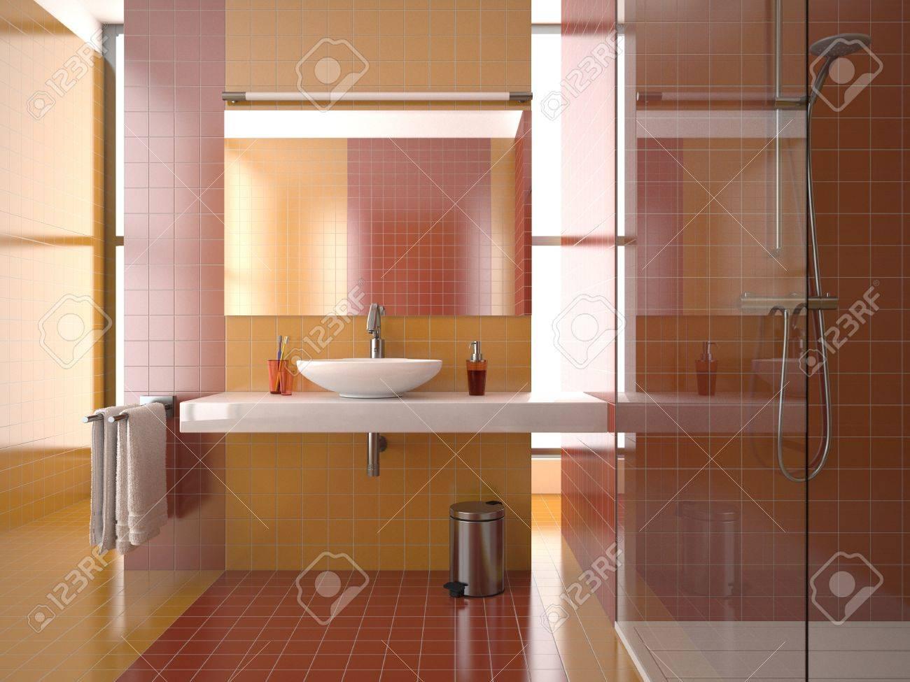 Baño moderno con tejas rojas y naranjas fotos, retratos, imágenes ...