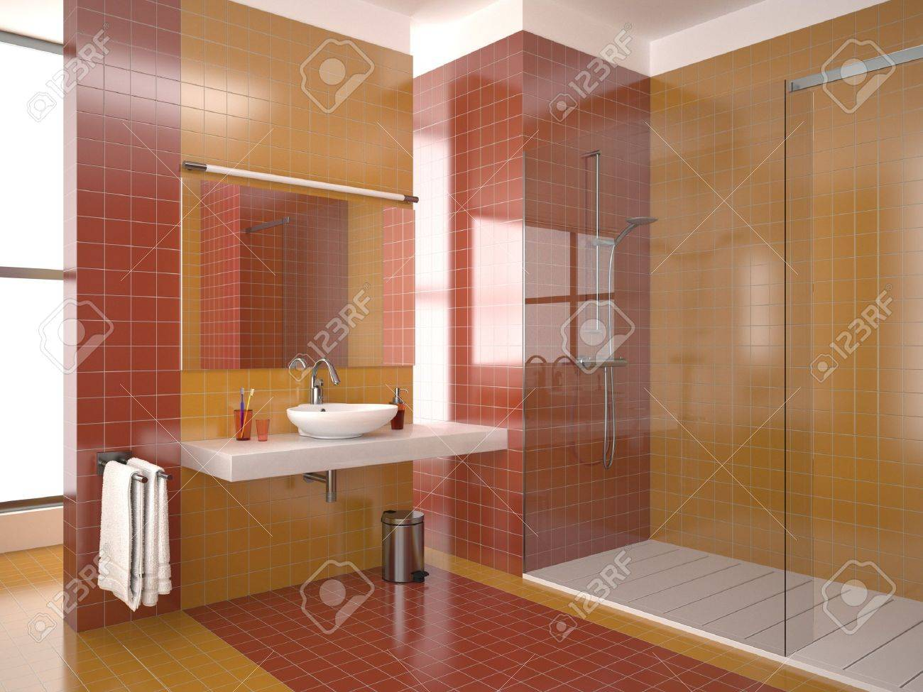 modern bathroom with red and orange tiles Stock Photo - 8503763