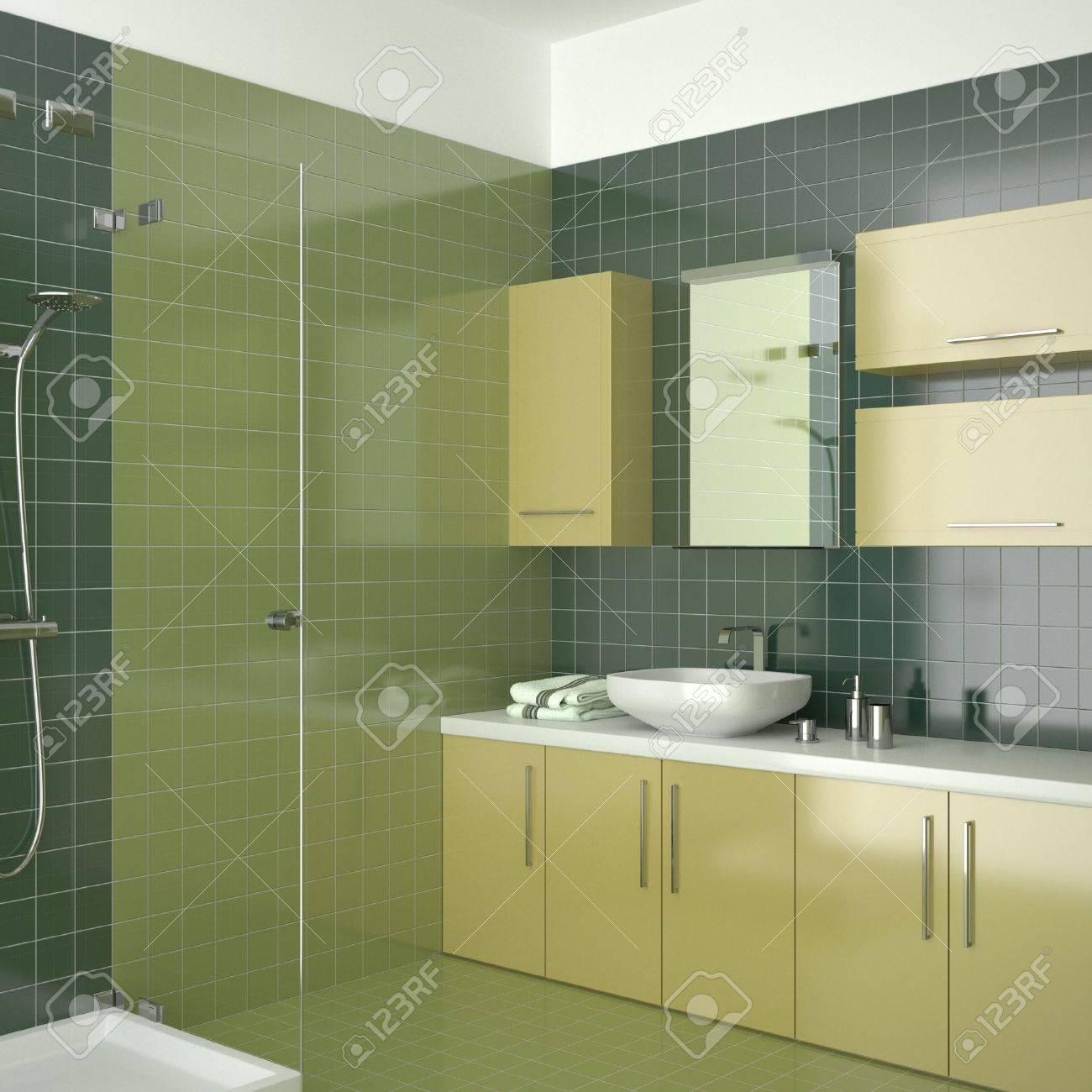 bagno moderno di verde con mobili di colore giallo foto royalty ... - Bagni Moderni Verdi