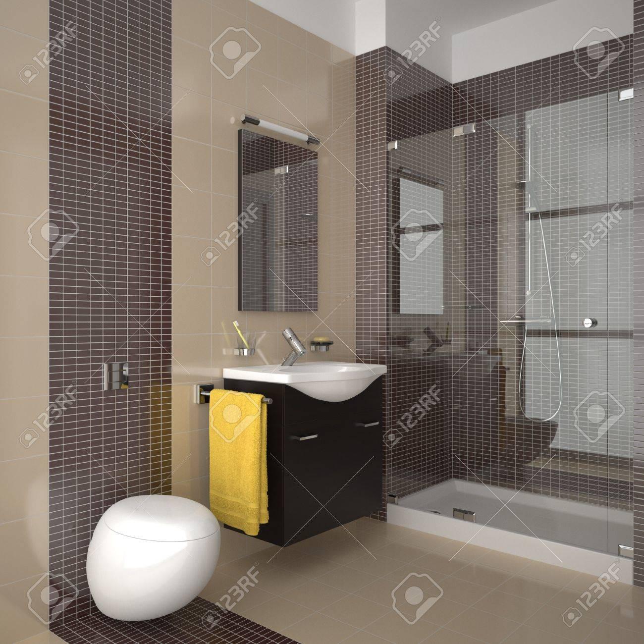 Baño moderno con azulejos de color marrón y beige fotos, retratos ...