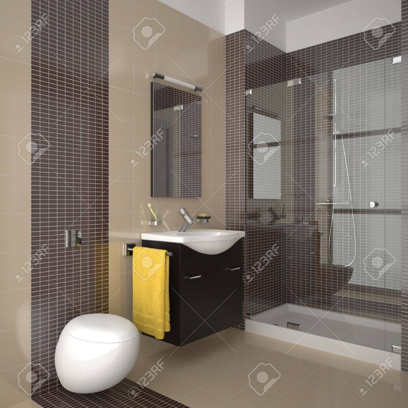 modern bathroom with beige and brown tiles Stock Photo - 8574637