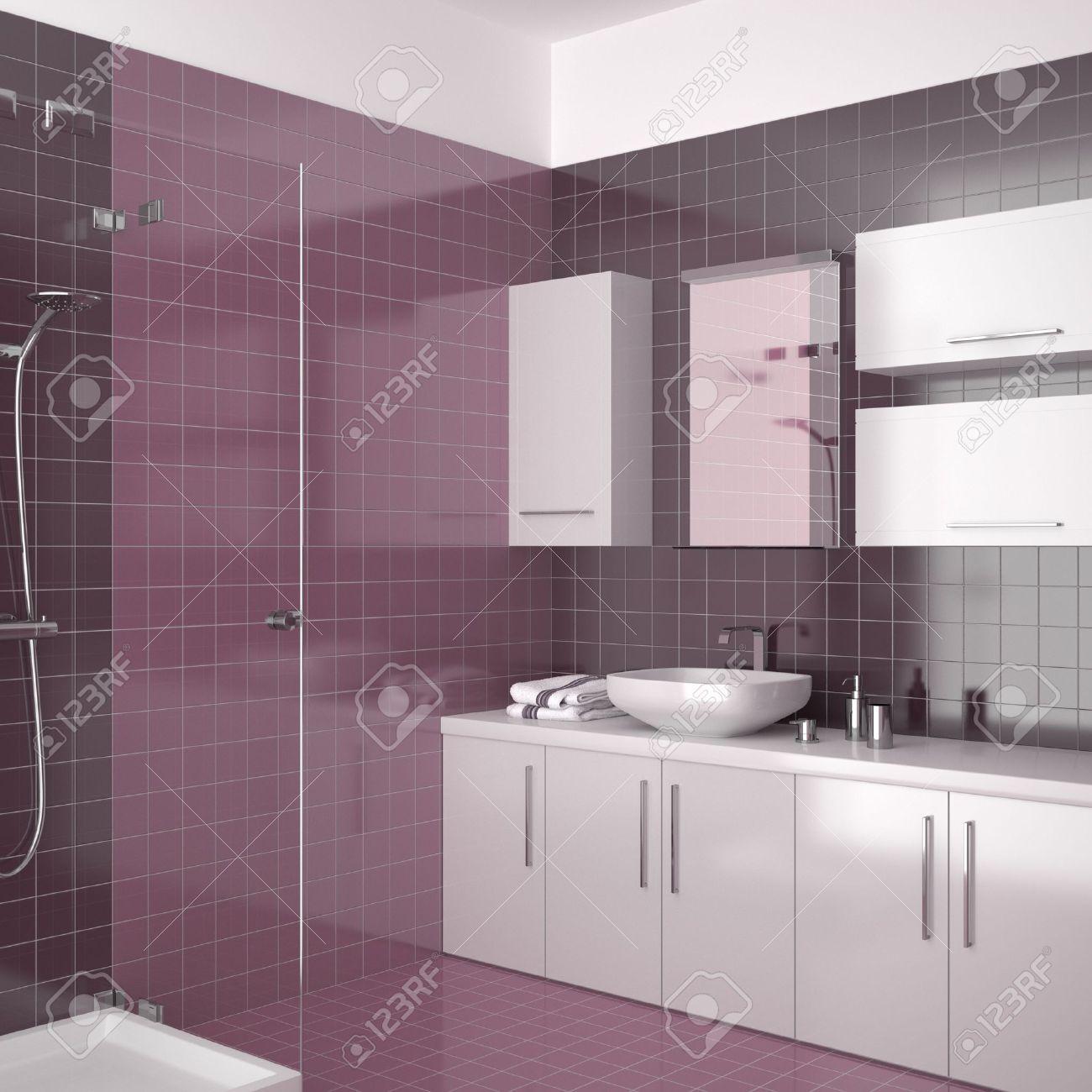 Modernes Badezimmer Mit Lila Fliesen Lizenzfreie Bilder   8638956