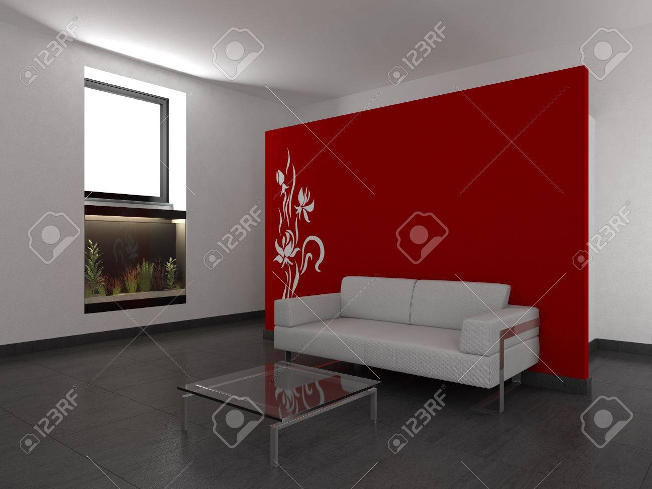 modern living room with red wall stock photo, picture and royalty