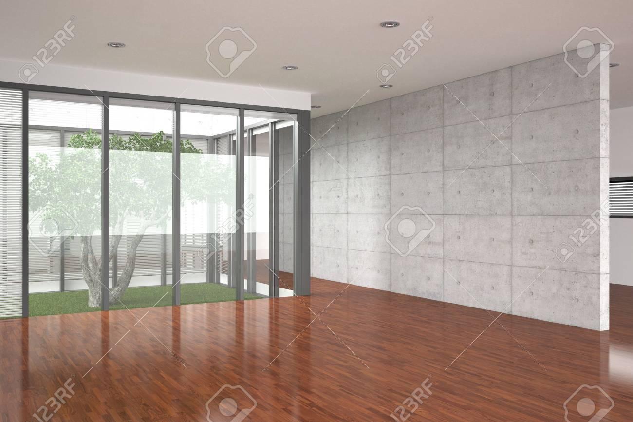 modern empty interior with parquet floor Stock Photo - 9035385