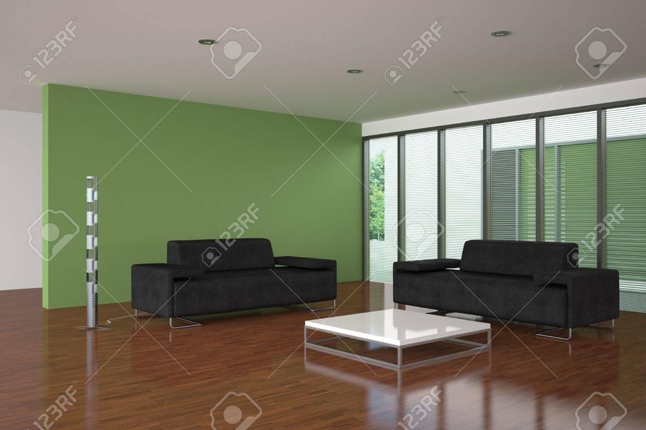 moderna vuoto soggiorno con parete verde foto royalty free ... - Soggiorno Pareti Verdi 2