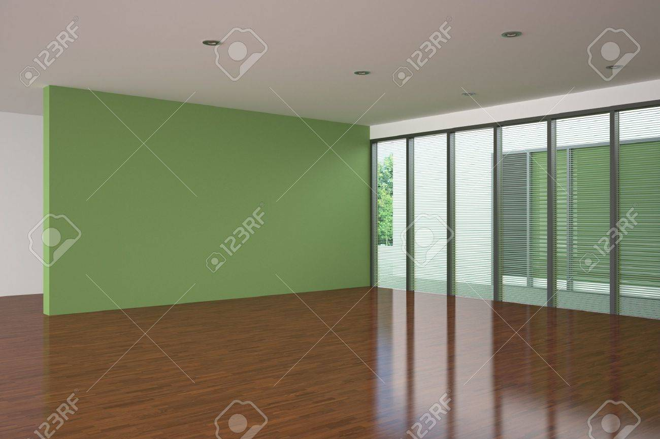Modern Empty Living Room With Green Wall Stock Photo Picture And