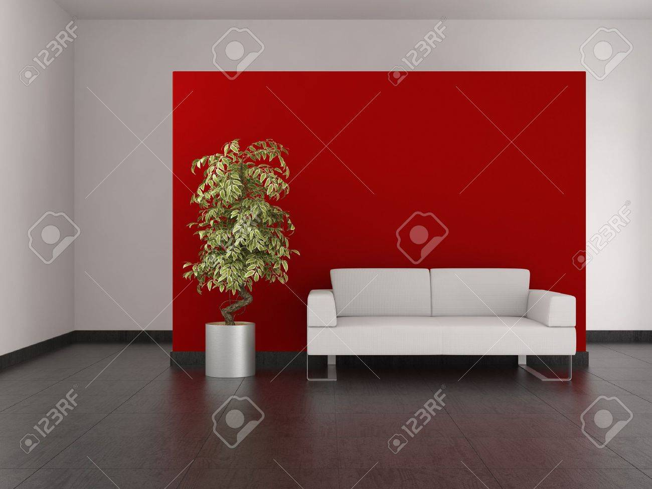 modern living room with red wall and tiled floor stock photo