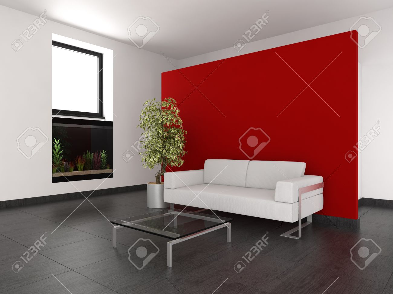 modern living room with red wall and aquarium Stock Photo - 9592393