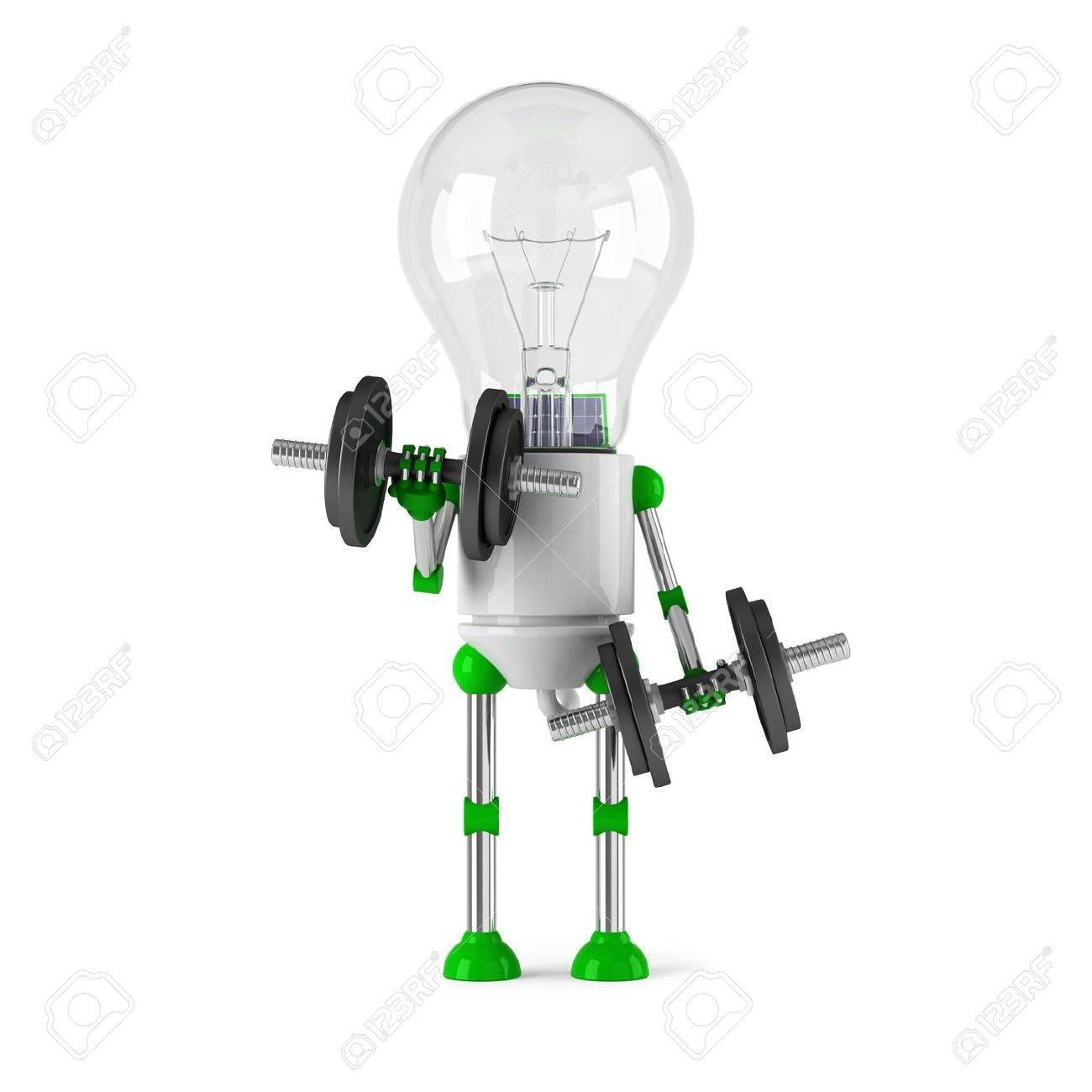 solar powered light bulb robot - fitness Stock Photo - 10024537