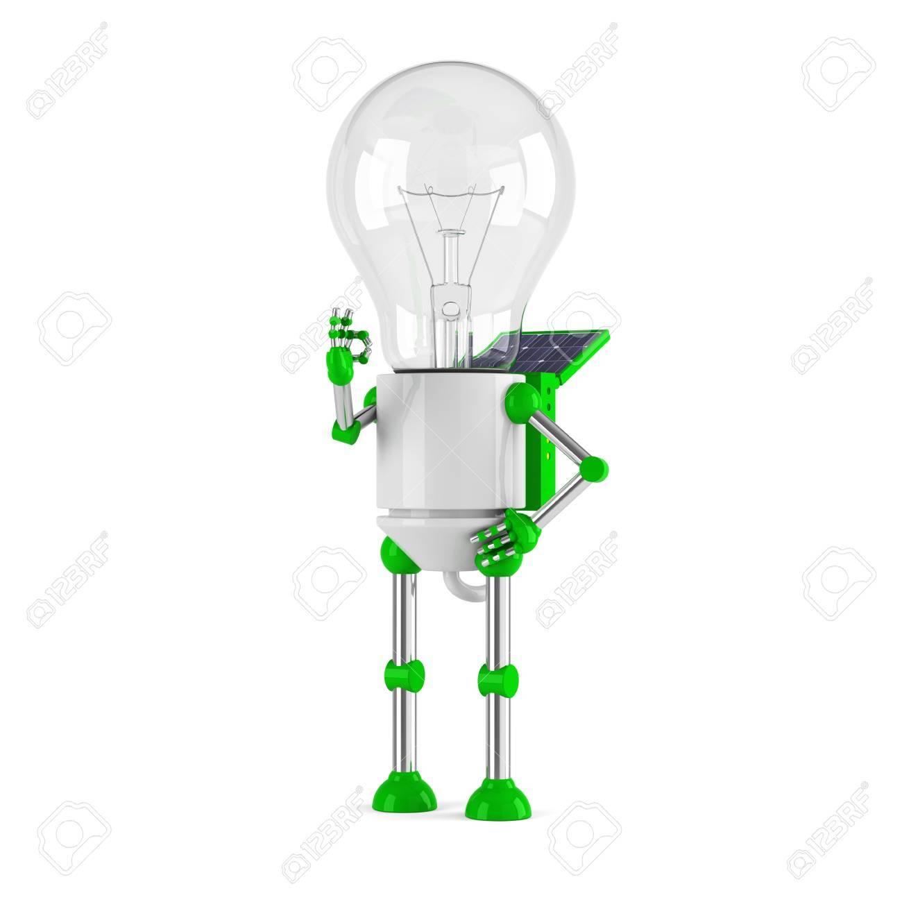 solar powered light bulb robot - ok Stock Photo - 10117707