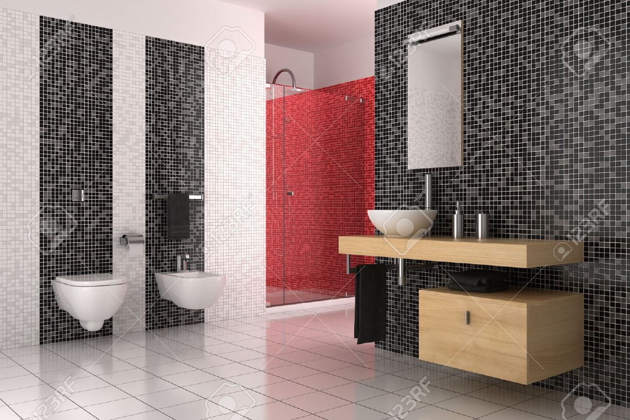 Black And Red Bathrooms   Modern Bathroom With Black Red And White Tiles  Stock Photo