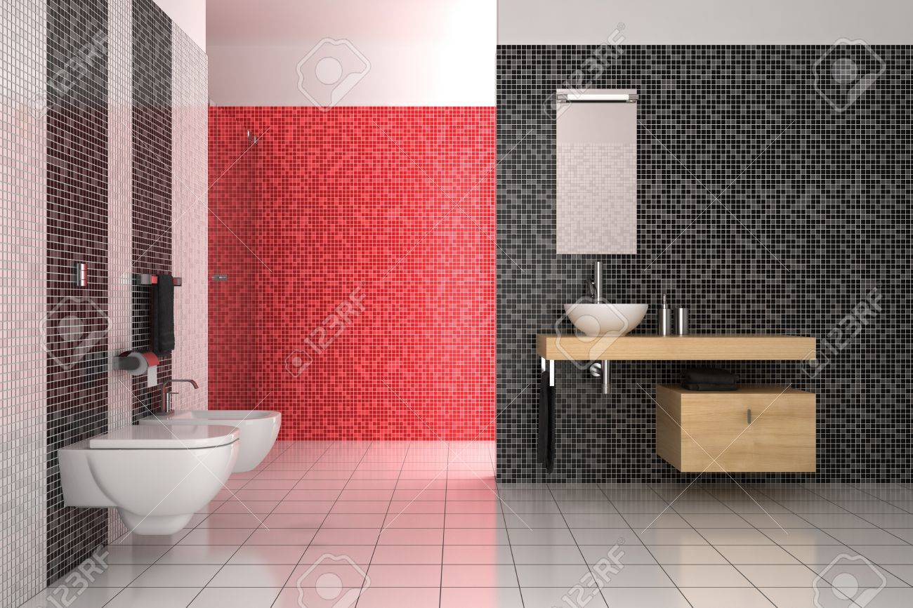 Red white black bathroom - Stock Photo Modern Bathroom With Black Red And White Tiles