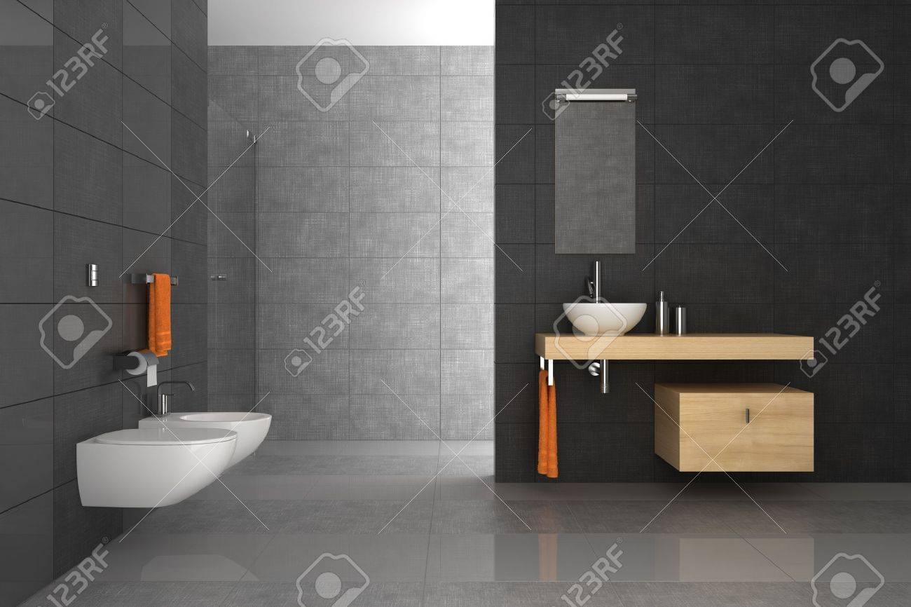 betegelde badkamer met houten meubilair royalty-vrije foto, Badkamer