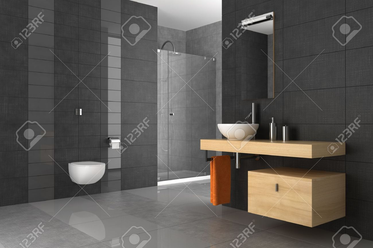 tiled bathroom with wood furniture Stock Photo - 10814890
