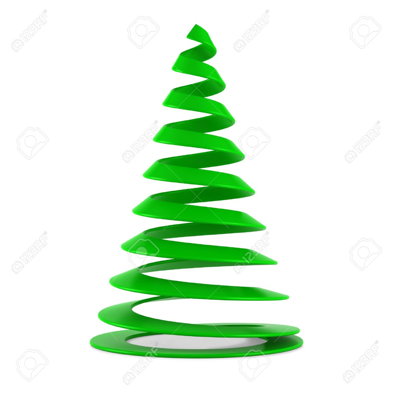 Plastic Christmas Tree.Stylized Christmas Tree In Green Plastic Isolated On White Background