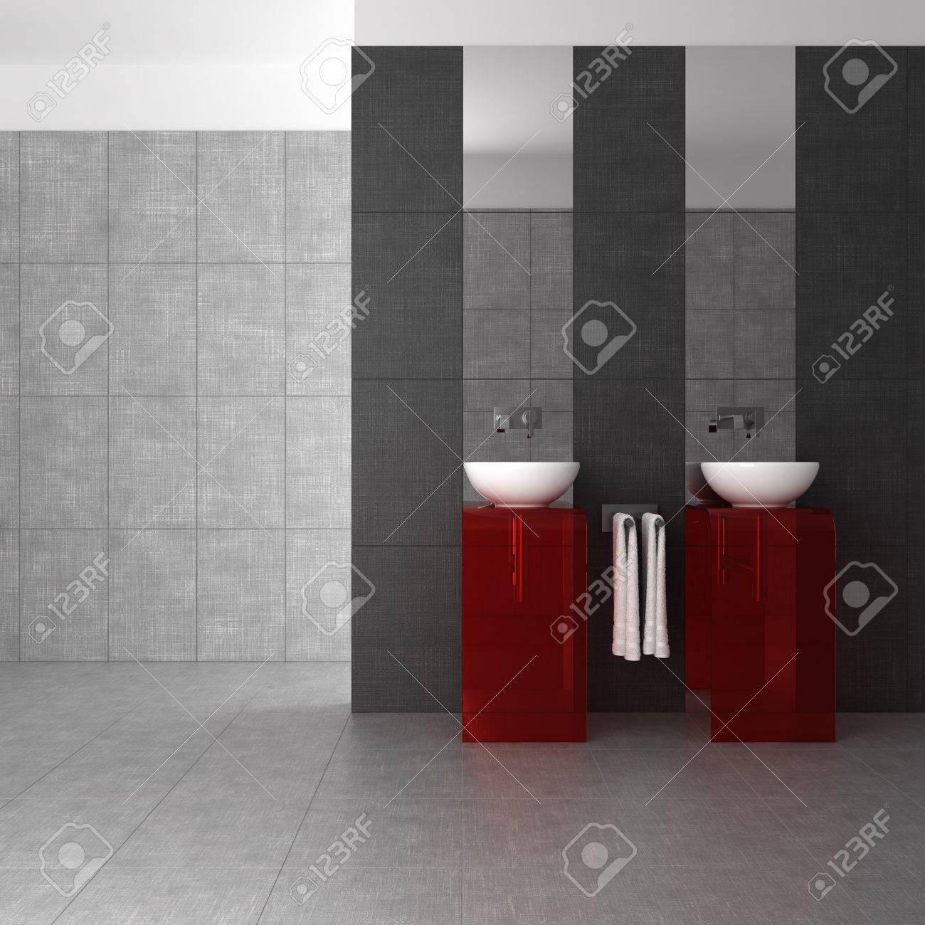 Salle de bain carrelée avec double vasque et meubles en verre